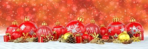 3d geef - rode Kerstmissnuisterijen over rode bokehachtergrond terug Stock Afbeelding