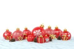 3d geef - rode Kerstmissnuisterijen over witte achtergrond terug Royalty-vrije Stock Afbeeldingen
