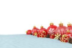 3d geef - rode Kerstmissnuisterijen over witte achtergrond terug Stock Afbeelding