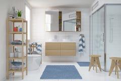 3d geef - Skandinaviër - noordse badkamers terug Royalty-vrije Stock Foto's