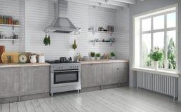 3d geef - Skandinavische vlakte - keuken terug Stock Fotografie