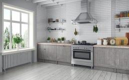 3d geef - Skandinavische vlakte - keuken terug Stock Afbeelding