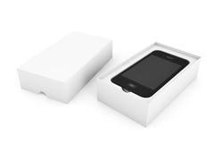 3d geef Smartphone met Doos terug Stock Fotografie