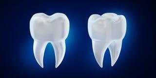 3d geef tandhoektand op blauwe achtergrond terug vector illustratie