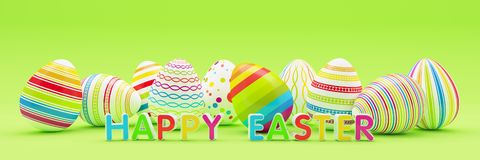 3d geef - tien colorfupaaseieren op blauwe achtergrond - gelukkige Pasen terug vector illustratie