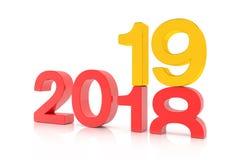 3d geef van aantallen 2018 en 19 in rood en gouden over wit terug stock illustratie