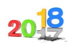 3d geef van aantallen 2017 - 18 over witte achtergrond terug stock illustratie