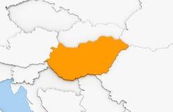 3d geef van abstracte kaart van Hongarije terug Royalty-vrije Stock Afbeelding