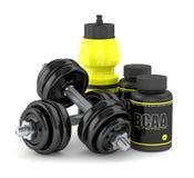 3d geef van BCAA-fles met domoren en waterfles terug Royalty-vrije Stock Afbeeldingen