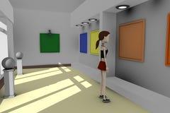 Het meisje van het beeldverhaal in galerij Stock Afbeelding