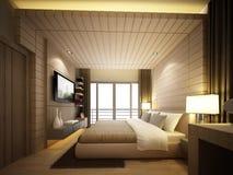 3d geef van binnenlandse slaapkamer terug Stock Afbeelding