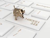 3d geef van computertoetsenbord terug met stier en NIKKEI 225 index B stock illustratie