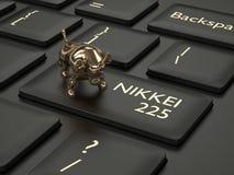 3d geef van computertoetsenbord terug met stier en NIKKEI 225 index B vector illustratie