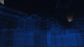3D geef van de bouw van wireframe stadsachtergrond terug stock illustratie