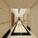3d geef van de vloer van de hotelhal terug Stock Foto