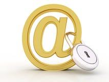 3d geef van e-mailsymbool met slot terug Royalty-vrije Stock Fotografie