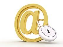 3d geef van e-mailsymbool met slot terug Royalty-vrije Stock Afbeelding