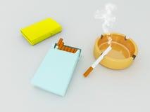 3D geef van een blauw pak van sigaretten, gouden lichter en oranje gassasbakje terug Stock Afbeeldingen