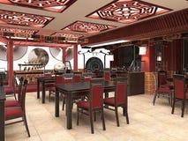 3d geef van een Chinees restaurantbinnenland terug Stock Foto's