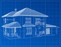 3D geef van een gebouw terug De contouren van huizen op een blauwe tekening Royalty-vrije Stock Foto