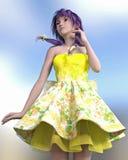 3D geef van een Kawaii Jong Meisje terug Royalty-vrije Stock Foto