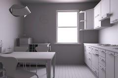 3D geef van een keuken terug Stock Afbeeldingen
