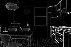 3D geef van een keuken terug Stock Afbeelding
