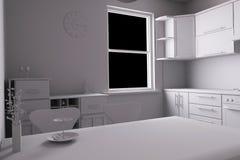 3D geef van een keuken terug Royalty-vrije Stock Foto's