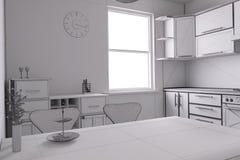 3D geef van een keuken terug Stock Foto
