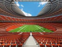 3D geef van een rond voetbalstadion terug met oranje zetels Stock Foto