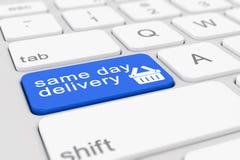 3d geef van een toetsenbord met blauwe leveringsknoop van dezelfde dag terug royalty-vrije illustratie