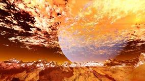 3d geef van een vreemde planeet terug royalty-vrije stock afbeelding