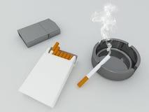 3D geef van een wit pak sigaretten terug, zilveren aansteker en blac Stock Afbeelding