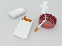 3D geef van een wit pak van sigaretten, zilveren lichter en rood asbakje terug Stock Foto