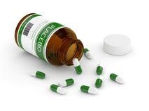 3D geef van fles met placebopillen terug over wit Royalty-vrije Stock Afbeelding