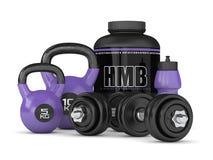3d geef van HMB-container kettlebells en domoren terug Stock Afbeelding