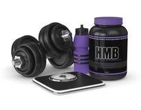 3d geef van HMB-container met gymnastiekhulpmiddelen terug Stock Afbeeldingen