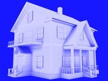 3d geef van huis technisch op blauw terug Stock Afbeelding