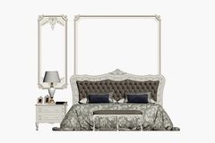 3d geef van klassieke slaapkamer terug royalty-vrije illustratie