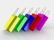 3d geef van kleurrijke het winkelen zakken terug Stock Afbeelding
