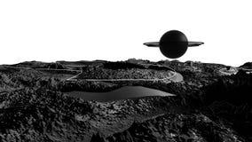 3d geef van kosmisch landschap terug als achtergrond of milieu Planeet van ruimtemening van het zeer gedetailleerde ruimtevaartui stock video