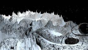 3d geef van kosmisch landschap terug als achtergrond of milieu Planeet van ruimtemening van het zeer gedetailleerde ruimtevaartui royalty-vrije illustratie