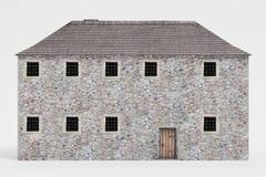 3D geef van Middeleeuws Huis terug vector illustratie