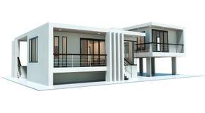 3d geef van modern geïsoleerd huis terug stock illustratie