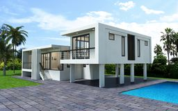 3d geef van modern geïsoleerd huis terug vector illustratie