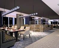 3d geef van modern hotel het dineren ruimte terug Stock Foto's