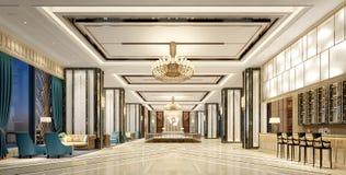 3d geef van modern hotelbinnenland terug Royalty-vrije Stock Fotografie