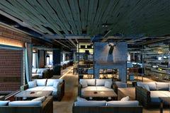3d geef van modern hotelbinnenland terug Stock Foto