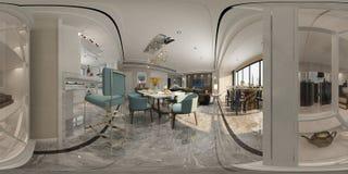3D geef van moderne woonkamer terug vector illustratie