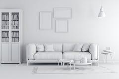 3d geef van mooi schoon wit binnenland terug Royalty-vrije Stock Afbeeldingen